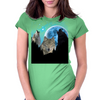 Wolves Twilight Blue Moon Womens Fitted T-Shirt