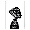 woman in black Tablet (vertical)