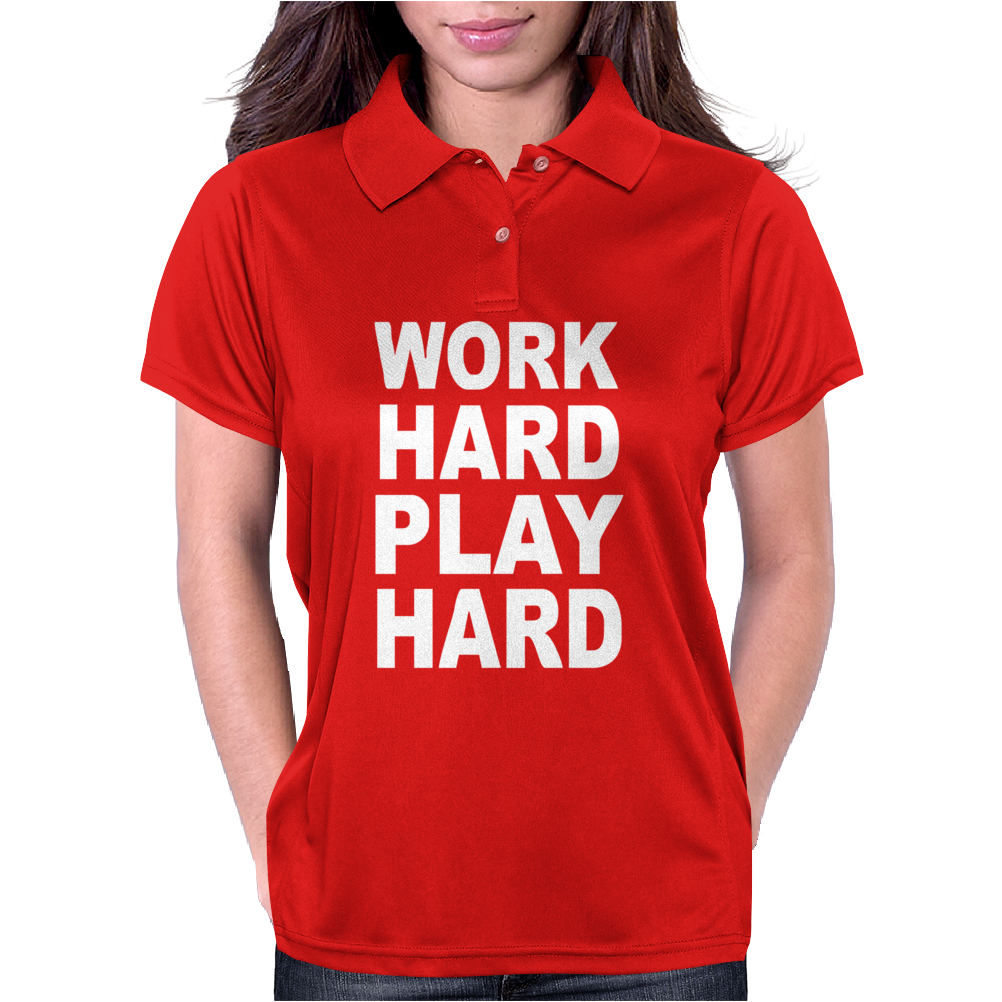 Work Out Play Hard Funny Womens Polo