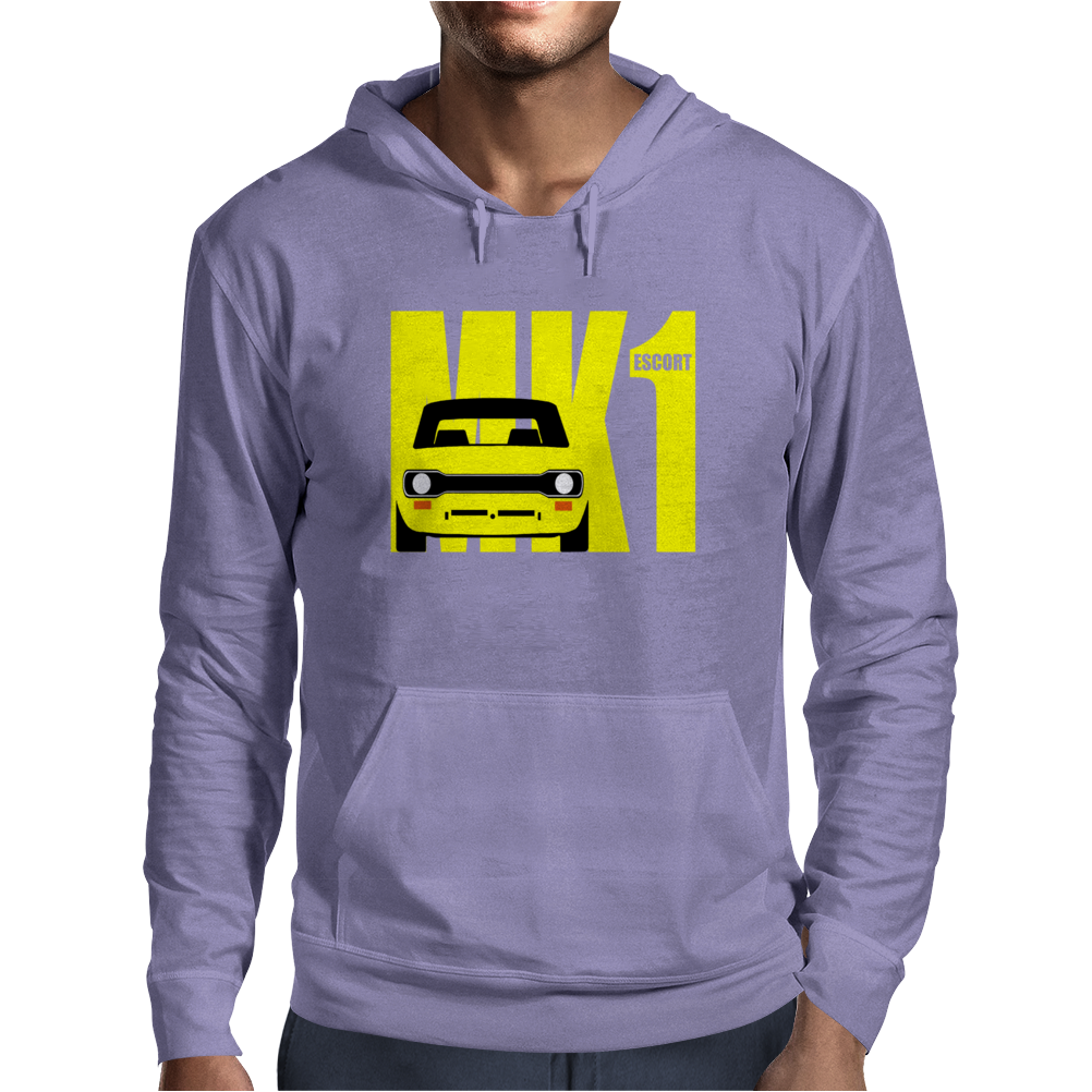 Yellow Ford Escort MK1 Retro Classic Car Mens Hoodie