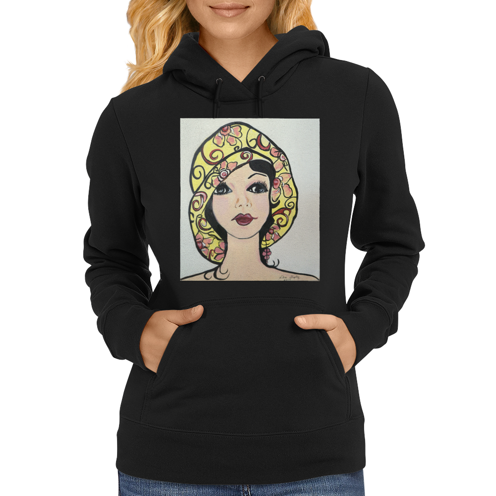 YELLOW HAT GIRL Womens Hoodie