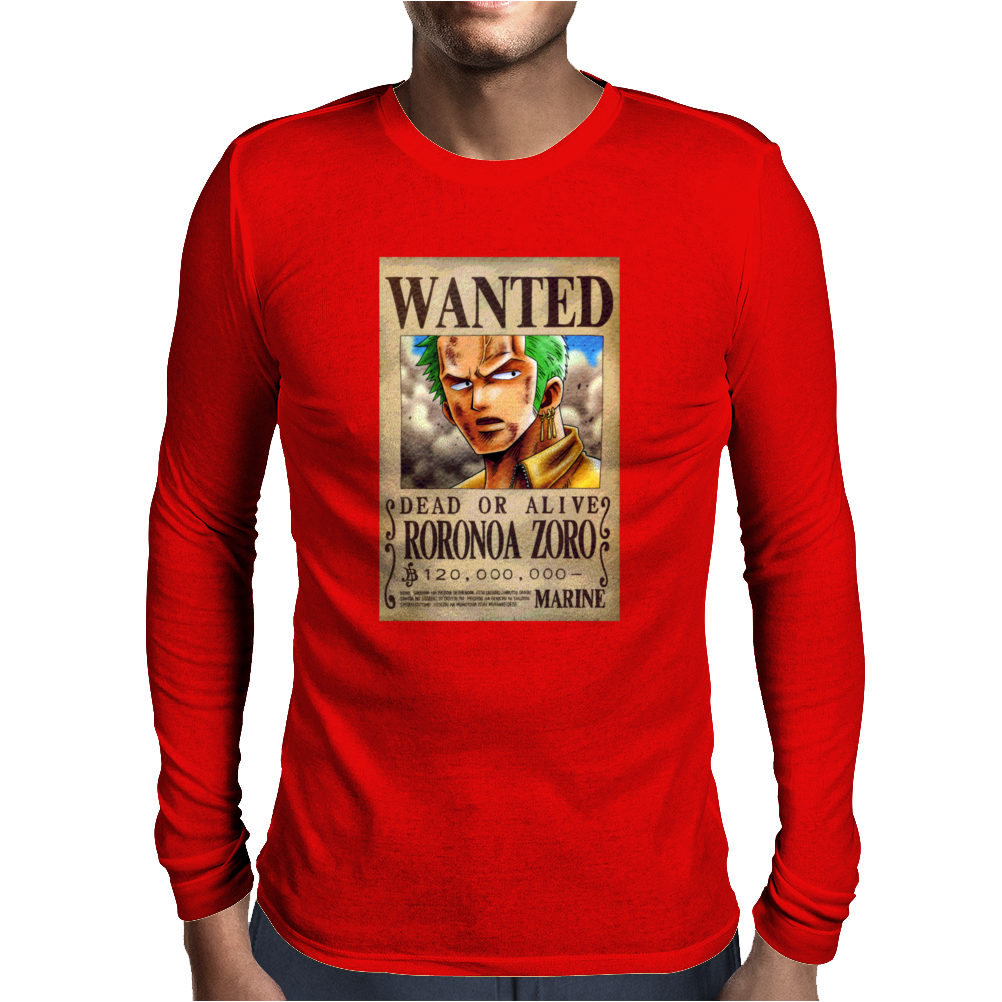Zoro Wanted One Piece Rubber Cartoon Manga Mens Long Sleeve T-Shirt