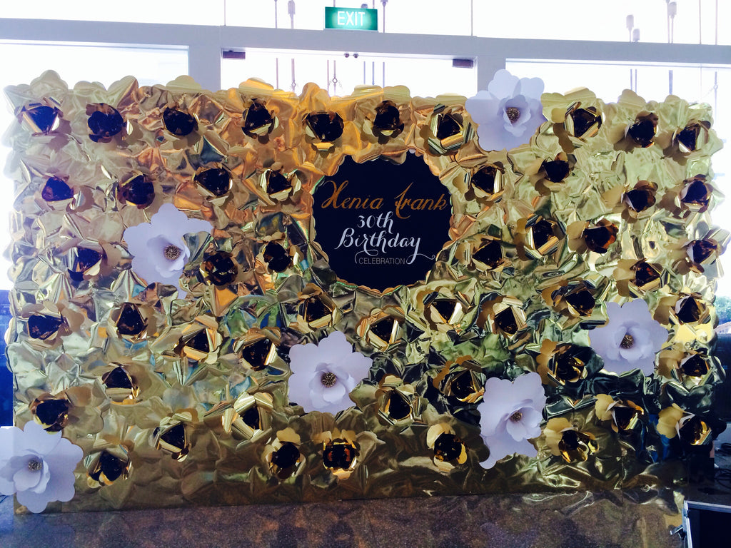 Paper Flower Backdrop - Customized Logo with Gold Flowers