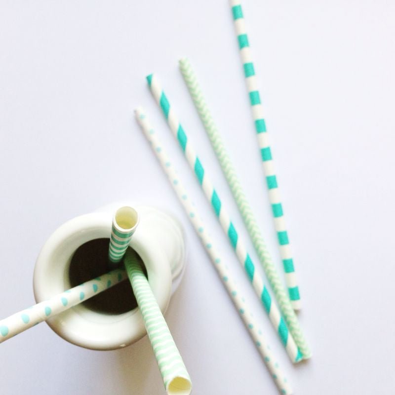 Patterned Paper Straws - Light Blue Polka Dots