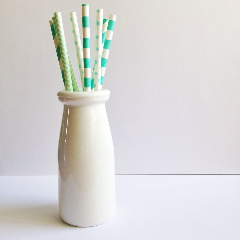 Patterned Paper Straws - Dark Mint Spiral Stripes