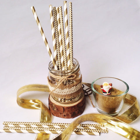 Patterned Paper Straws - Golden Chevron