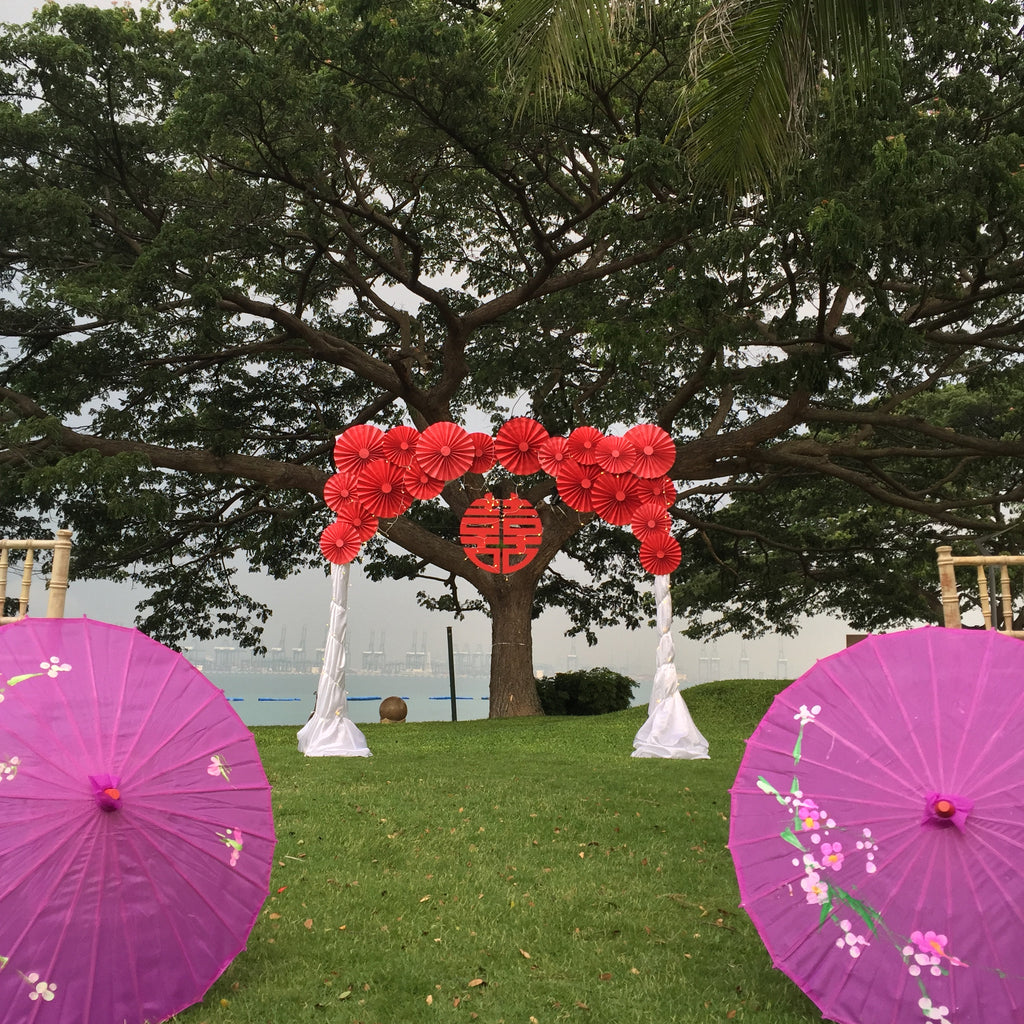 Paper Flower Arch - Oriental Shuang Xi and Red Paper Fans