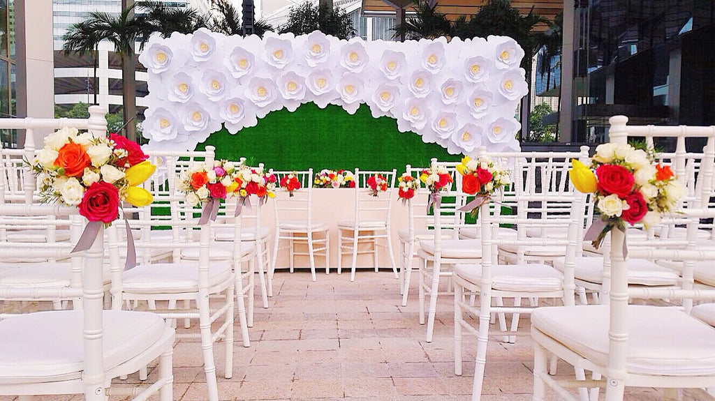 Paper Flower Backdrop - Paper Flowers with Faux Turf