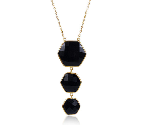 Black Onyx Triple Hexagon Necklace