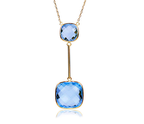 Blue Topaz Gold Bar Necklace