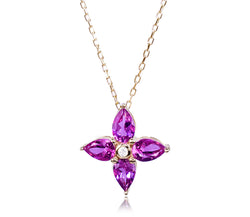 Pink Tourmaline & Diamond Flower Necklace