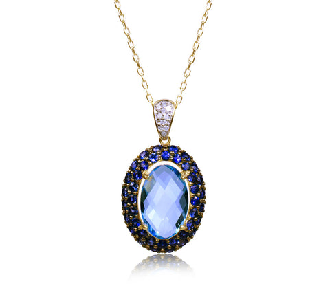Swiss Blue Topaz, Blue Sapphire & Diamond Necklace