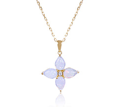 Opal & Diamond Flower Necklace