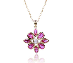 Pink Tourmaline Diamond Flower Necklace