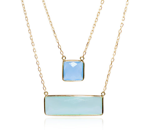 Chalcedony Two Row Necklace