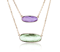 Purple & Green Amethyst Two Row Necklace