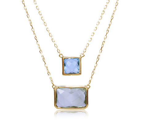 Blue Topaz & Green Amethyst Two Row Necklace