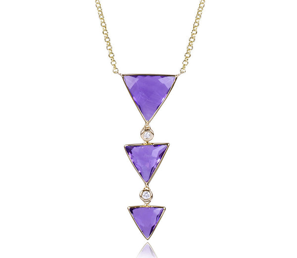 Amethyst Triple Triangle Diamond Necklace