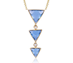 Swiss Blue Topaz Triple Triangle & Diamond Necklace