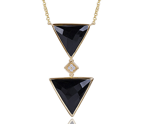 Black Onyx Double Triangle & Diamond Necklace