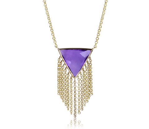 Amethyst Triangle Fringe Movement Necklace