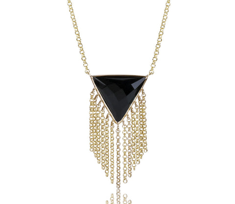 Black Onyx Triangle Fringe Movement Necklace