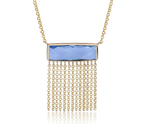 Blue Topaz Rectangle With Fringe Necklace