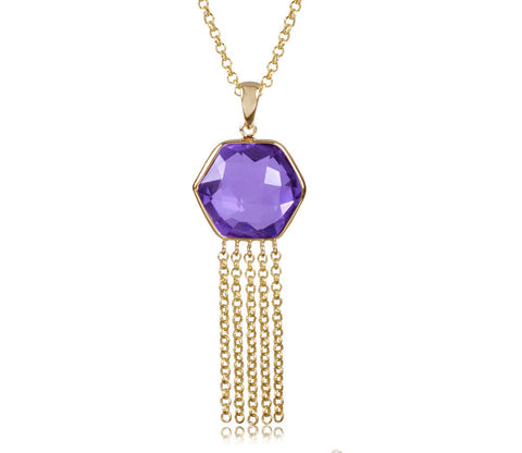 Amethyst Hexagon Fringe Movement Necklace