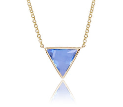 Swiss Blue Topaz Triangle Necklace