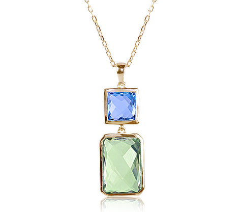Swiss Blue Topaz & Green Amethyst Necklace