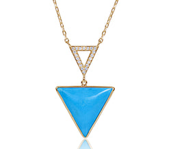 Turquoise & Diamond Triangle Necklace