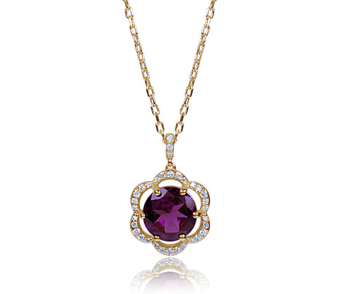 Rodholite Garnet & Diamond Flower Necklace