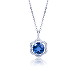 London Blue Topaz & Diamond Flower Pendant