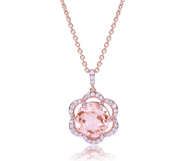 Morganite & Diamond Flower Necklace