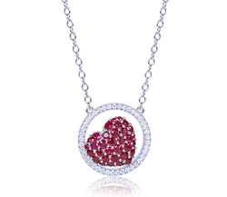 Open Diamond Circle & Ruby Heart Necklace