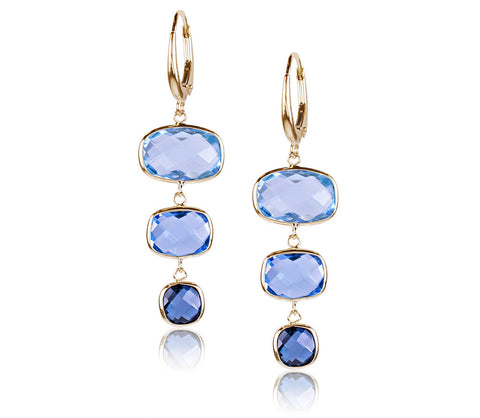 Multi Blue Topaz Earrings