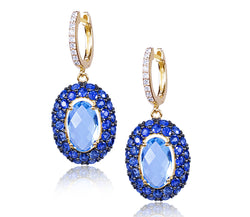 Swiss Blue Topaz, Blue Sapphire & Diamond Earring