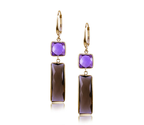 Amethyst & Smoky Quartz Earring