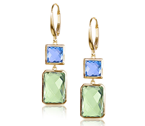Swiss Blue Topaz & Green Amethyst Earrings