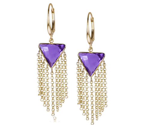 Amethyst Triangle Fringe Earrings