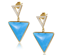 Turquoise & Diamond Triangle Earrings