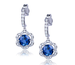 London Blue Topaz & Diamond Flower Earrings