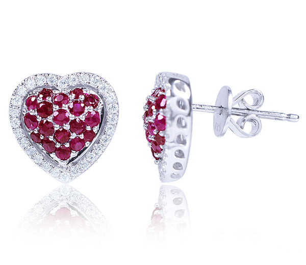 Ruby & Diamond Heart Stud Earrings