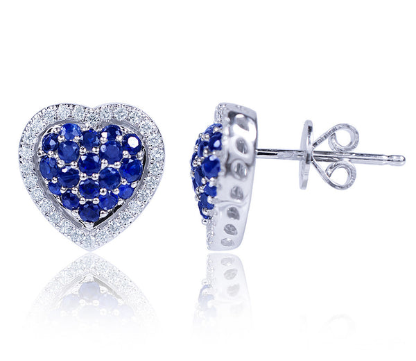 Sapphire & Diamond Heart Stud Earrings