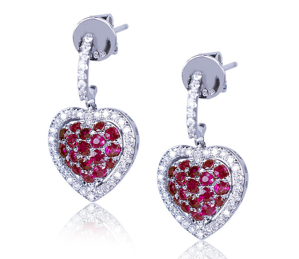 Ruby & Diamond Heart Earrings