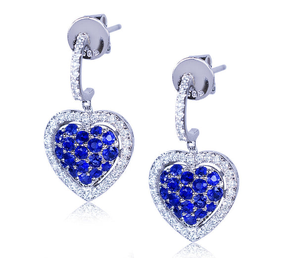 Sapphire & Diamond Heart Earrings
