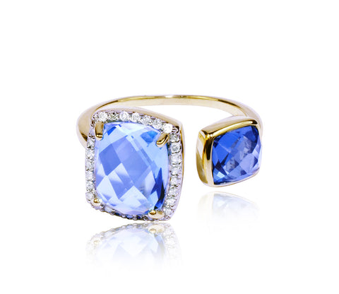 Swiss & London Blue Topaz Diamond Ring