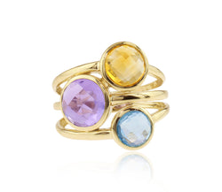 Multi-Gemstone 3 Line Ring