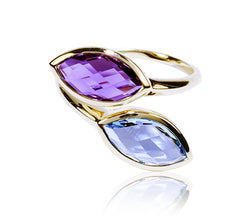 Swiss Blue Topaz & Amethyst Ring