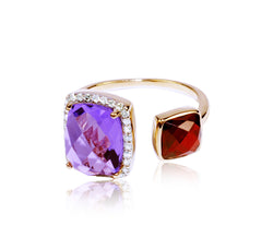 Amethyst & Garnet Diamond Ring